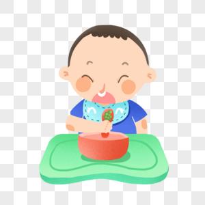 自己吃饭的小宝宝图片