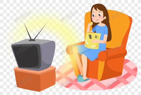 坐着吃零食看电视的女孩图片