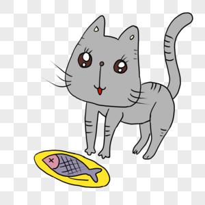 吃鱼的小猫咪图片