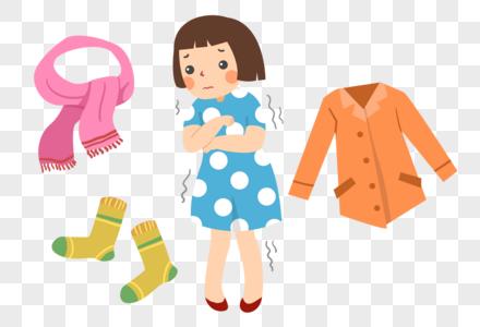 手绘天冷换季需要添衣的女孩图片