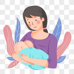 手绘母乳喂养素材图片