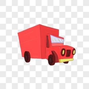 红色货物小卡车图片