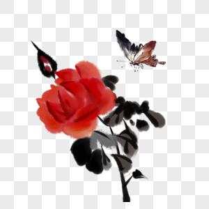 国画花和蝴蝶图片