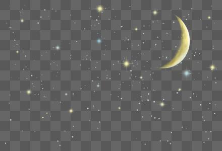 黄色月亮星空光效图片