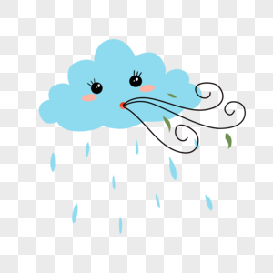 卡通天气刮风下雨图片