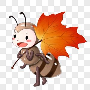 扛枫叶的小蚂蚁图片
