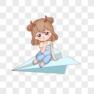 开学季坐着纸飞机飞行的小女孩图片