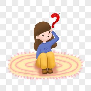 思考的人问号符号插图图片