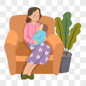 手绘母乳喂养宝宝的妈妈图片