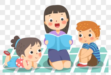 少儿教育读书的老师和孩子图片