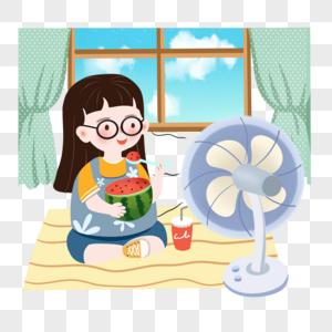 大暑天坐着吃西瓜吹风扇的小女孩图片