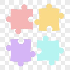四色拼图边框装饰图片