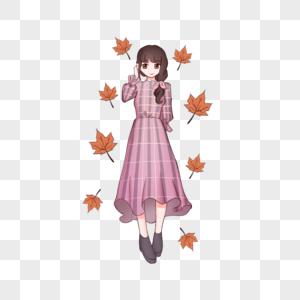 秋季美丽女孩手绘插画图片
