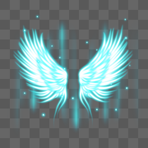 梦幻光感蓝色翅膀图片