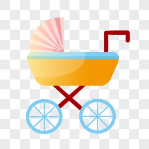 橙色婴儿车图片