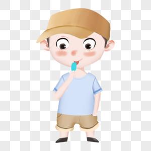 吃冰棒的小男孩图片