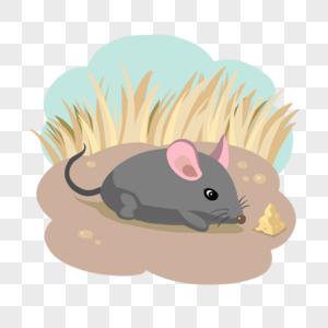 秋天草原动物老鼠耗子吃蛋糕图片