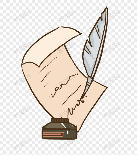 写信羽毛笔与墨水图片
