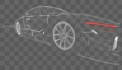 三维汽车透视网格线图片