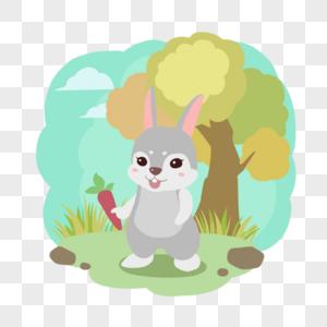 秋天森林动物兔子吃萝卜图片