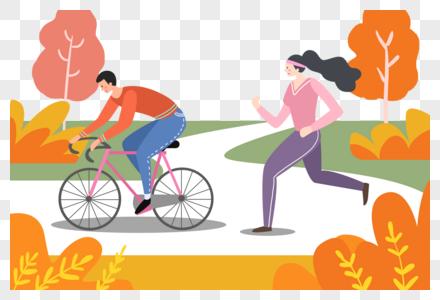 手绘立秋锻炼身体的人们图片