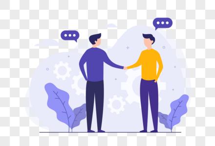 人物握手合作商务插画图片