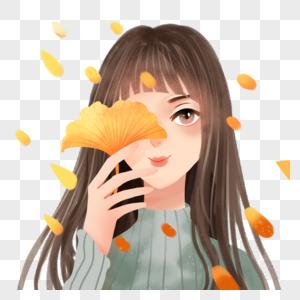 银杏叶与少女图片