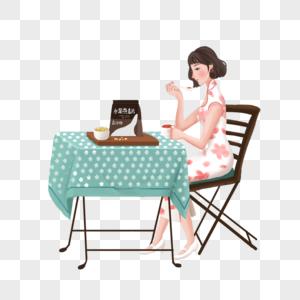 坐着吃饭的少女图片