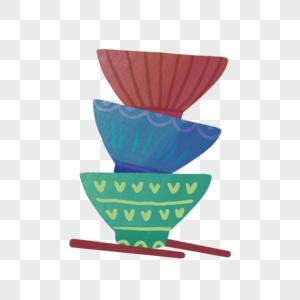 厨房堆叠起来的碗筷图片