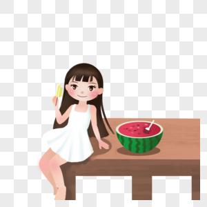 坐着吃雪糕的女孩图片