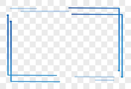 蓝色简约科技感线条边框图片