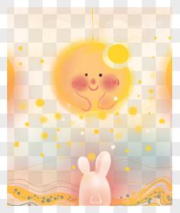 卡通可爱中秋节月亮玉兔插画图片