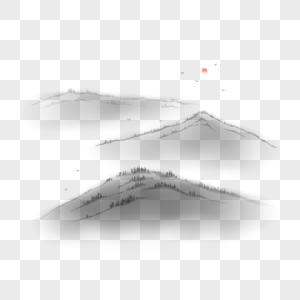 中国风国画水墨远山图片