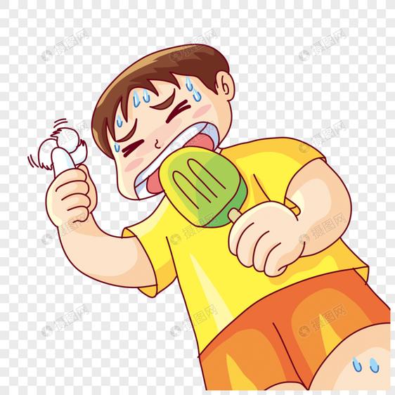 吃雪糕的男孩图片