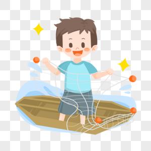 夏日卡通男孩捕鱼图片