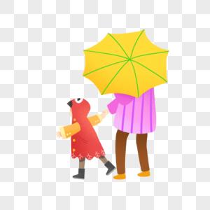 秋雨撑伞的母子图片