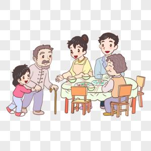 一家人吃饭图片