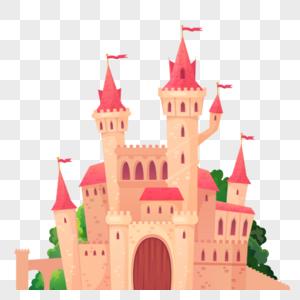 卡通粉顶城堡图片
