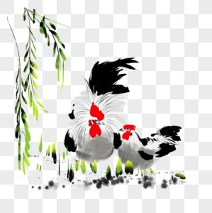 水墨公鸡母鸡图片