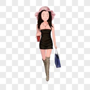 提包购物的美女图片