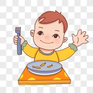卡通秋日里的宝宝吃东西图片