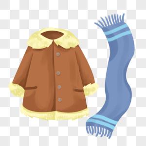 手绘卡通秋冬季的大衣围巾图片