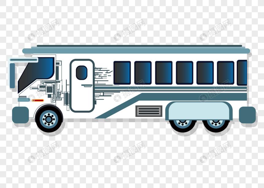 手绘扁平化大巴汽车矢量图素材图片