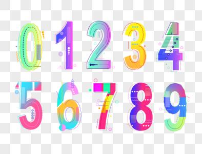 扁平几何数字渐变效果图片