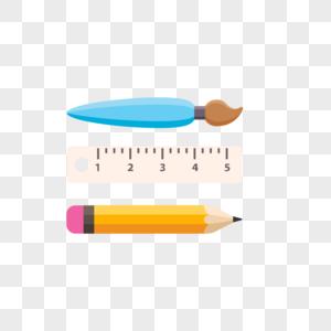 工具尺子铅笔画笔图标免抠矢量插画素材图片