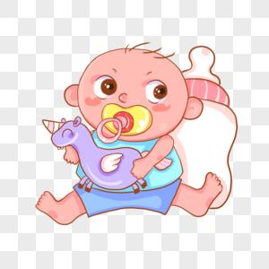 可爱的婴儿小宝宝吃奶玩耍图片