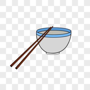 手绘碗筷图片
