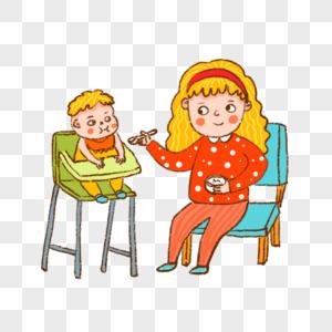 妈妈为宝宝喂食宝宝吃饭哺乳婴儿妈妈亲子插画可爱图片