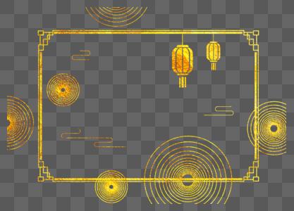 创意金色中国风花纹边框设计图片
