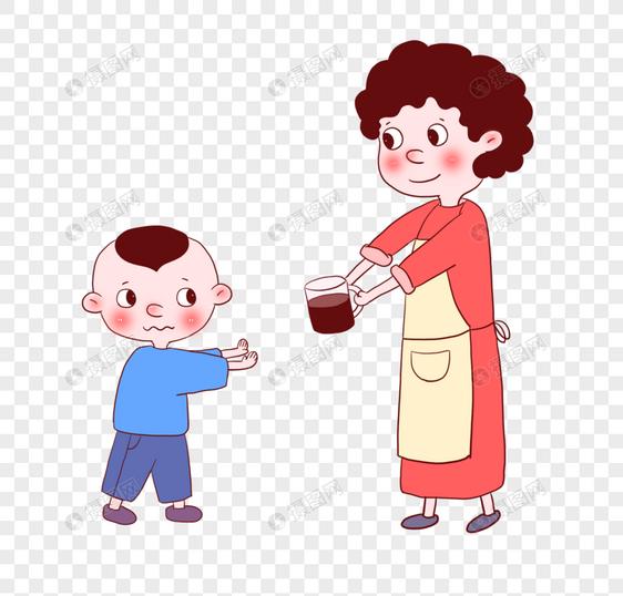 小孩不想喝药图片